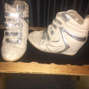 Shoes - Gently Used Ivory(Natural) & Silver Wedge Sneakers
